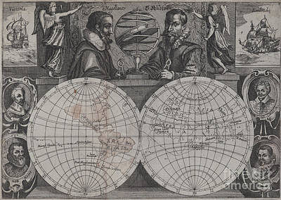 Photograph - Double Hemisphere Map Of The World Showing Schoutens Voyage by Rick Bures