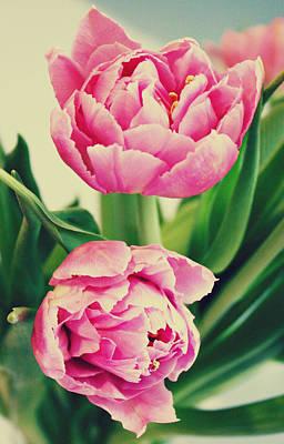 Purple Flowers Digital Art - Double Late Tulips by Cathie Tyler