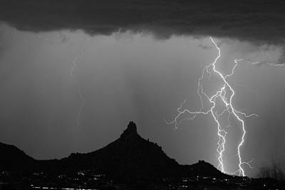 Arizona Lightning Photograph - Double Lightning Pinnacle Peak Bw Fine Art Print by James BO  Insogna