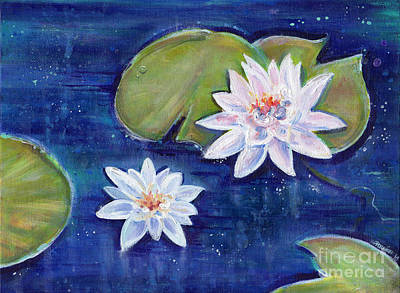 White Lotus Painting - Double Lotus by Renee Lavoie