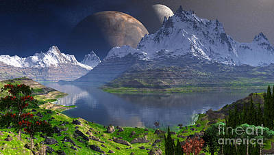 Double Moon Over The Rockies  Art Print by Heinz G Mielke