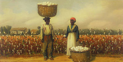 Negro Painting - Double Portrait Of Cotton Pickers by William Walker