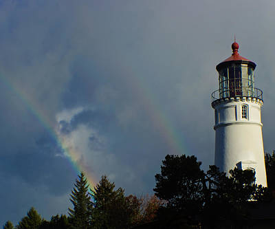 Photograph - Double Rainbow And Lighthouse by Adria Trail