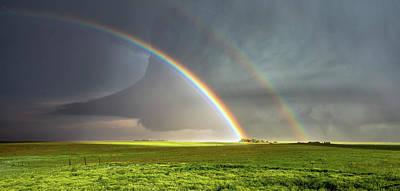 Double Rainbow Photograph - Double Rainbow And Tornado by Shane Linke
