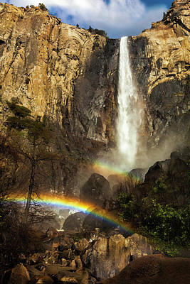 Photograph - Double Rainbow At Bridalveil Falls by Andrew Soundarajan