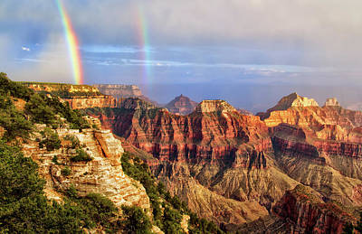 Photograph - Double Rainbow At Grand Canyon North Rim by Carolyn Derstine