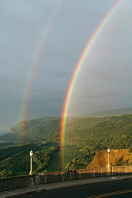 Photograph - Double Rainbow From Vista House by Wes and Dotty Weber