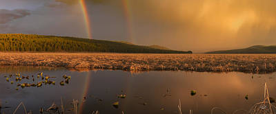 Double Rainbow Photograph - Double Rainbow Light by Leland D Howard