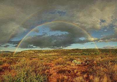 Photograph - Double Rainbow Over Desert Txt by Theo O'Connor