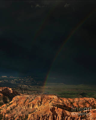 Photograph - Double Rainbow Over Hoodoos Bryce Canyon National Pa by Dave Welling