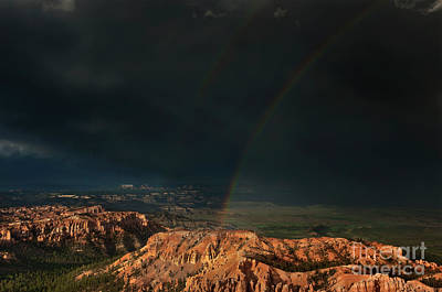 Photograph - Double Rainbow Over Hoodoos Bryce Canyon National Park by Dave Welling