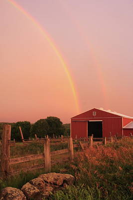 Photograph - Double Rainbow Over Red Barn by John Burk