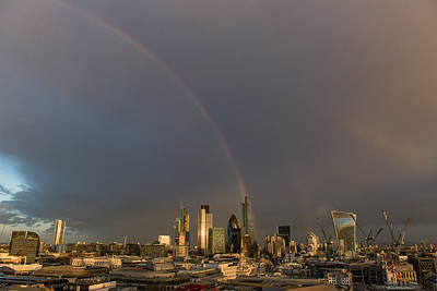 Photograph - Double Rainbow Over The City Of London by Gary Eason