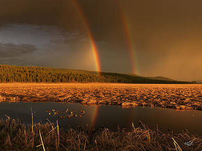 Photograph - Secondary Rainbow Reflection by Leland D Howard