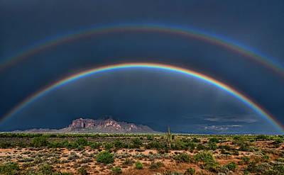 Art Print featuring the photograph Double Rainbow  by Saija Lehtonen