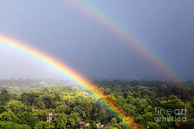 Rainbow Photograph - Double Rainbows by Charline Xia