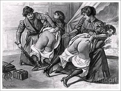 Drawing - Double Spanking by Louis Malteste