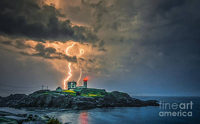 Cape Neddick Lighthouse Photograph - Double Strike by Scott Thorp