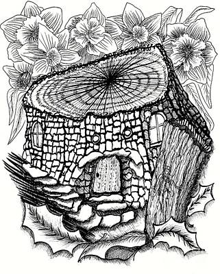 Fairy House Drawing - Double Stump Fairy House With Daffodils by Dawn Boyer