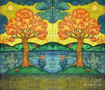 Visionary Art Painting - Double Tree Of Happiness by Kristian Johnson Michiels