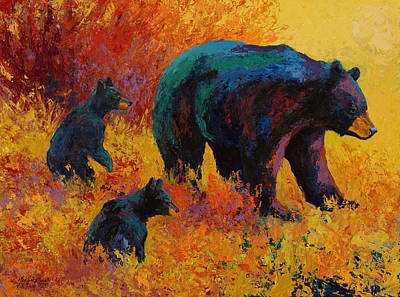 Hunting Painting - Double Trouble - Black Bear Family by Marion Rose