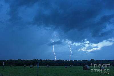 Double Trouble Too Dusk Thunderstorm Lightning Weather Art Art Print