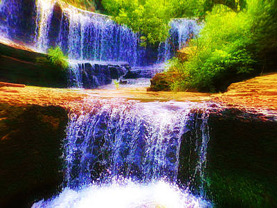 Babbling Photograph - Double Waterfall by Bill Cannon