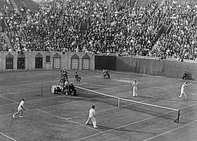 Doubles Tennis At Forest Hills Art Print by Underwood Archives