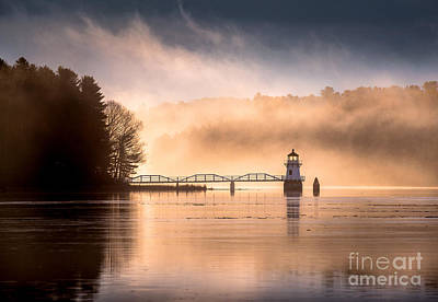 Maine Landscape Photograph - Doubling Point Lighthouse In The Mist by Benjamin Williamson