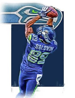 Mixed Media - Doug Baldwin Seattle Seahawks Oil Art 3 by Joe Hamilton