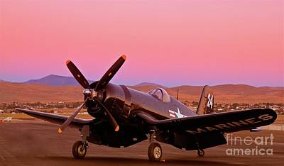 Doug Matthews F4u Corsair Sunrise Reno Air Races 2010 Original by Gus McCrea