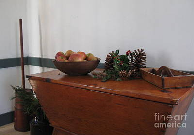 Photograph - Dough Box Table At Christmas by Nancy Patterson