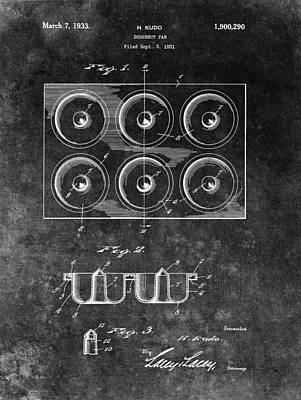 Donuts Drawing - Doughnut Pan Patent Charcoal by Dan Sproul