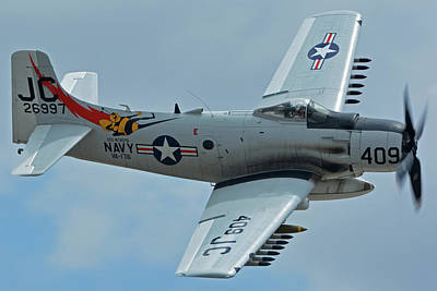 Print featuring the photograph Douglas A-1d Skyraider Nx409z Chino California April 30 2016 by Brian Lockett