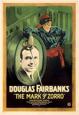 Silent Movie Star Mixed Media - Douglas Fairbanks In The Mark Of Zorro 1920 by Mountain Dreams
