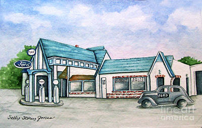 Service Station Painting - Douglasville Ga. Pure Station And Ford Sales by Sally Storey Jones