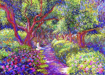 Impressionist Painting -  Dove And Healing Garden by Jane Small
