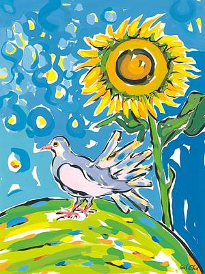 Ground Painting - Dove And Sunflower by Sarah Gillard