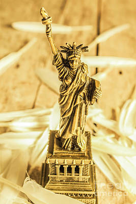 Statue Of Liberty Photograph - Dove Feathers And American Landmarks by Jorgo Photography - Wall Art Gallery