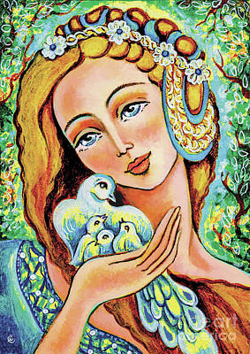 Painting - Dove Forest Fairy by Eva Campbell