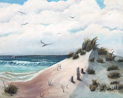 Dove Lands On Dunes Original by Sabrina K Wheeler
