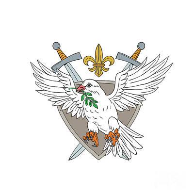 Fleur De Lis Digital Art - Dove Olive Leaf Sword Fleur De Lis Crest Drawing by Aloysius Patrimonio