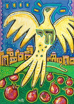 Painting - Dove Over Jerusalem by Yom Tov Blumenthal