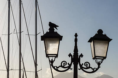 Photograph - Dove Perch - Quaint Cast Iron Harbor Lights And Boat Masts - Left by Georgia Mizuleva