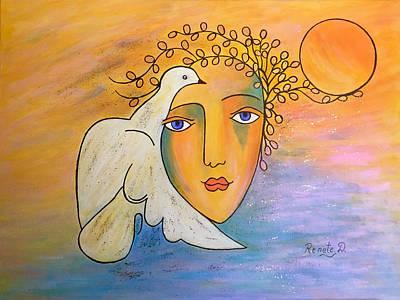 Painting - Dove-whisperer by Renate Dartois