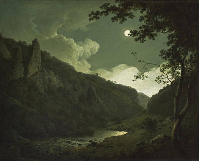 Eerie Painting - Dovedale By Moonlight by Joseph Wright of Derby