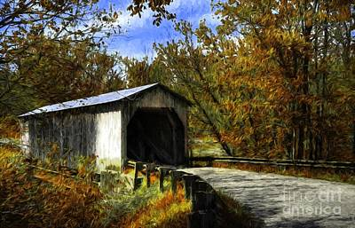 Photograph - Dover Covered Bridge In Autumn by Mel Steinhauer