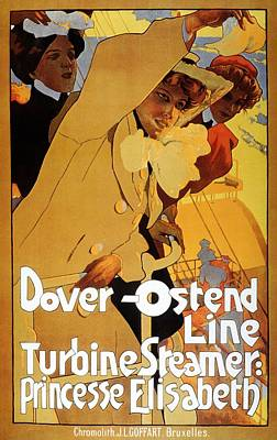 Royalty-Free and Rights-Managed Images - Dover Ostend Line - Turbine Steamer - Princess Elisabeth - Vintage Advertising Poster by Studio Grafiikka