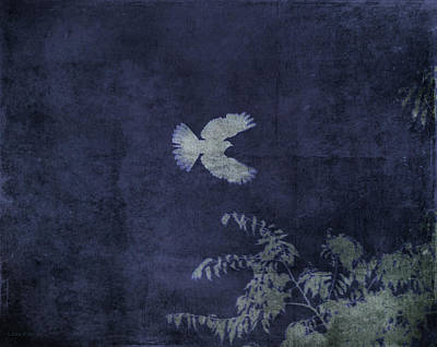 Mixed Media - Doves Flight Indigo by Lesa Fine