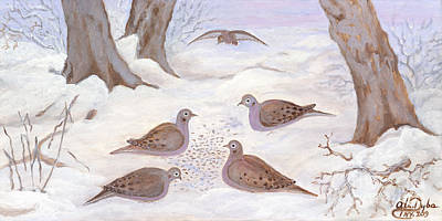 Polscy Malarze Painting - Doves In New York - Winter by Anna Folkartanna Maciejewska-Dyba